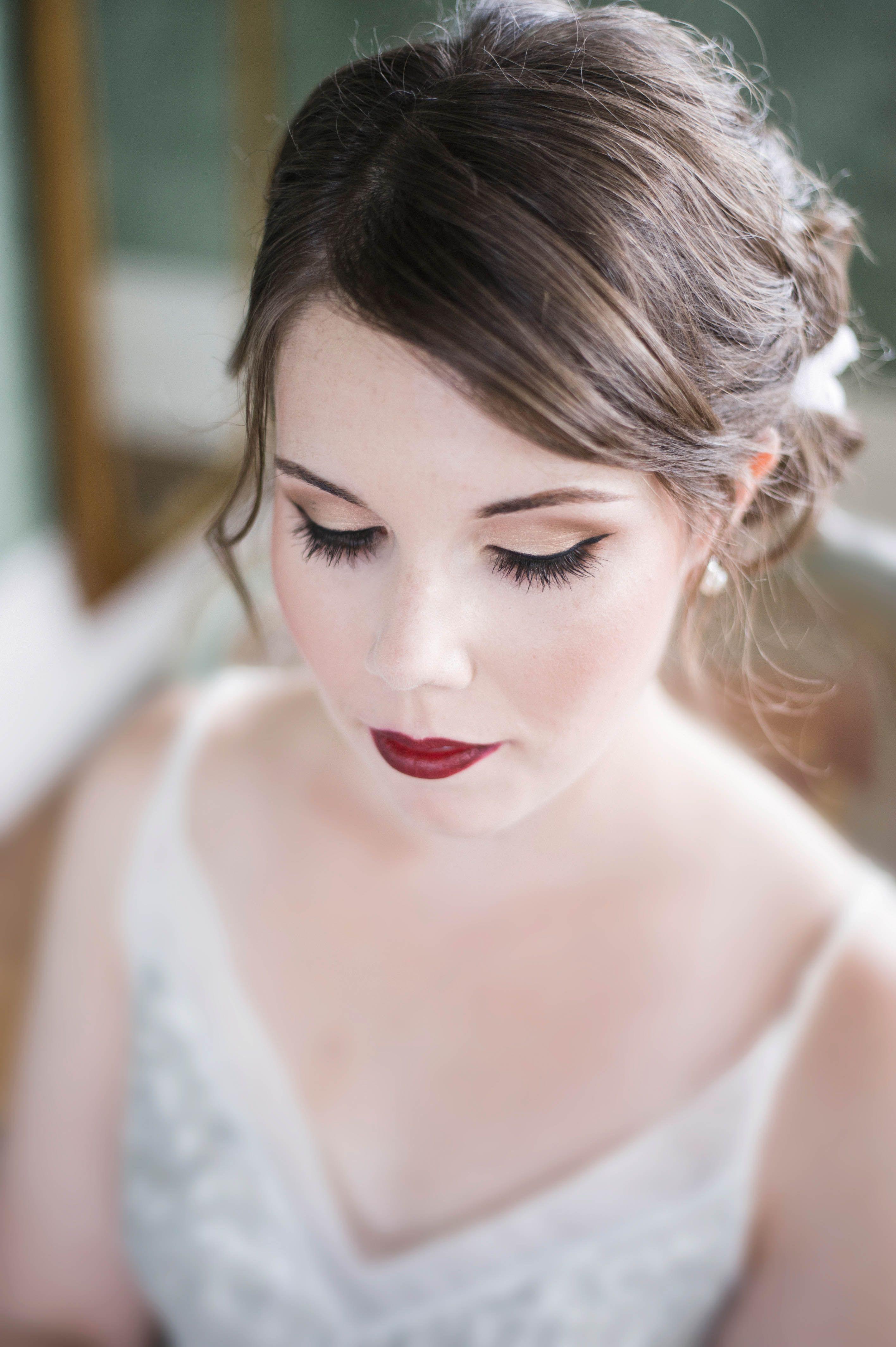 bridal makeup, dark lipstick. tulsa wedding photographer: talita
