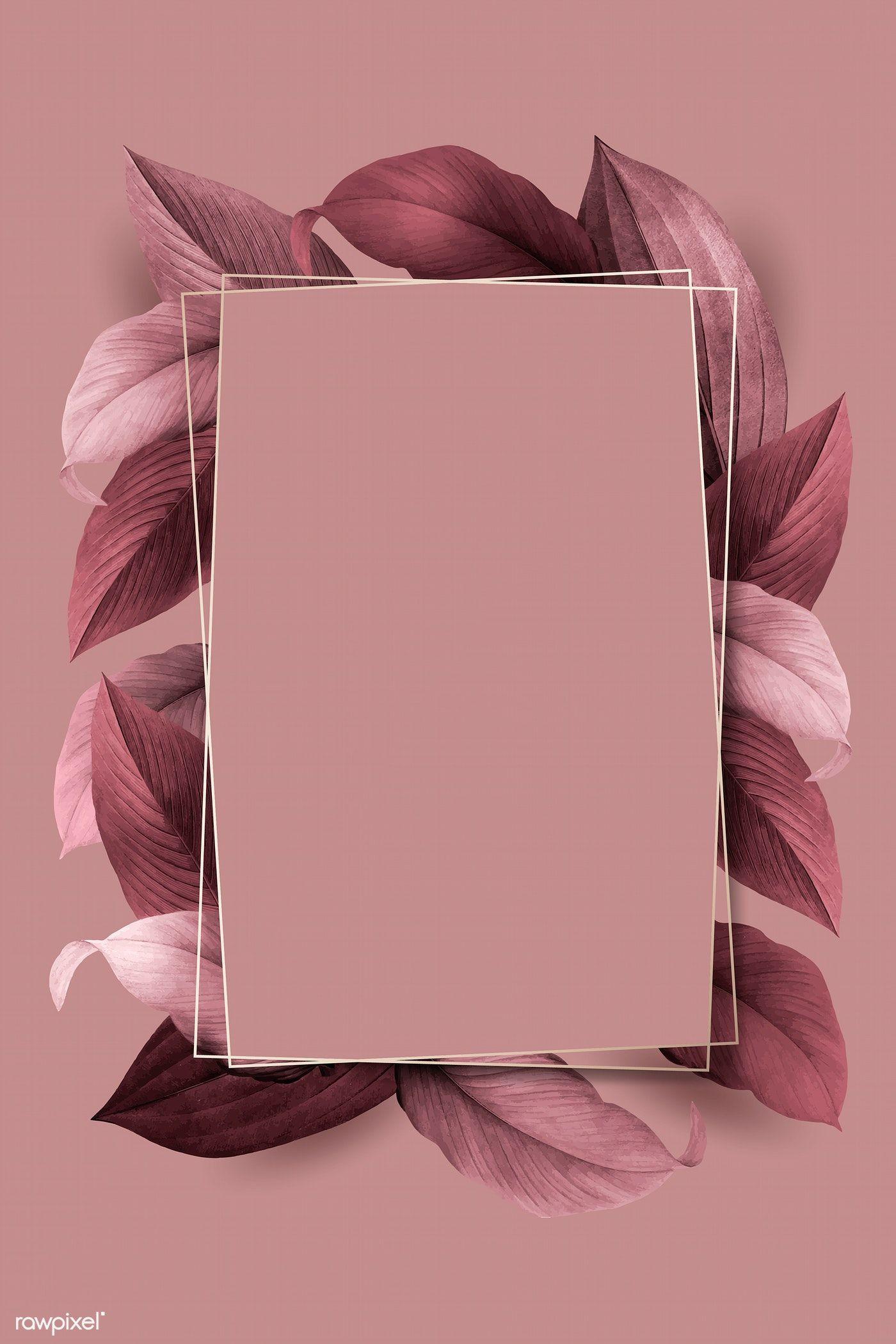 Download Premium Vector Of Rectangle Foliage Frame On Pink Background Rozovye Fony Vizitki Salona Vizitki Vizazhistov