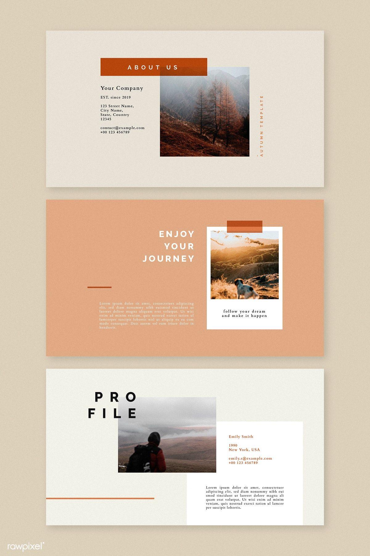 Download Premium Vector Of Autumn Color Tone Social Media Blog Template Presentation Layout Powerpoint Presentation Design Presentation Design Layout