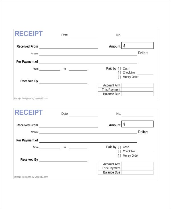 Receipts And Payments Accounts Template