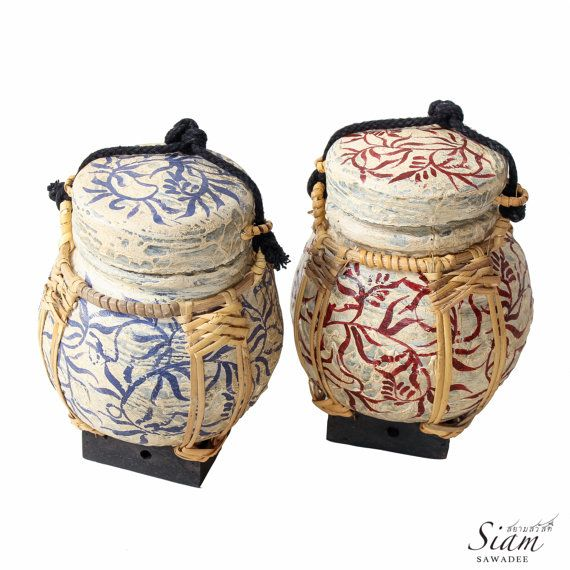 Pair of Thai Rice Basket Box. Oriental Decor. by SiamSawadee