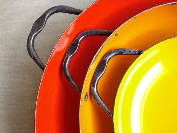 Vintage Enamel Paella Nesting Pans - Made in Poland - Red Orange Yellow