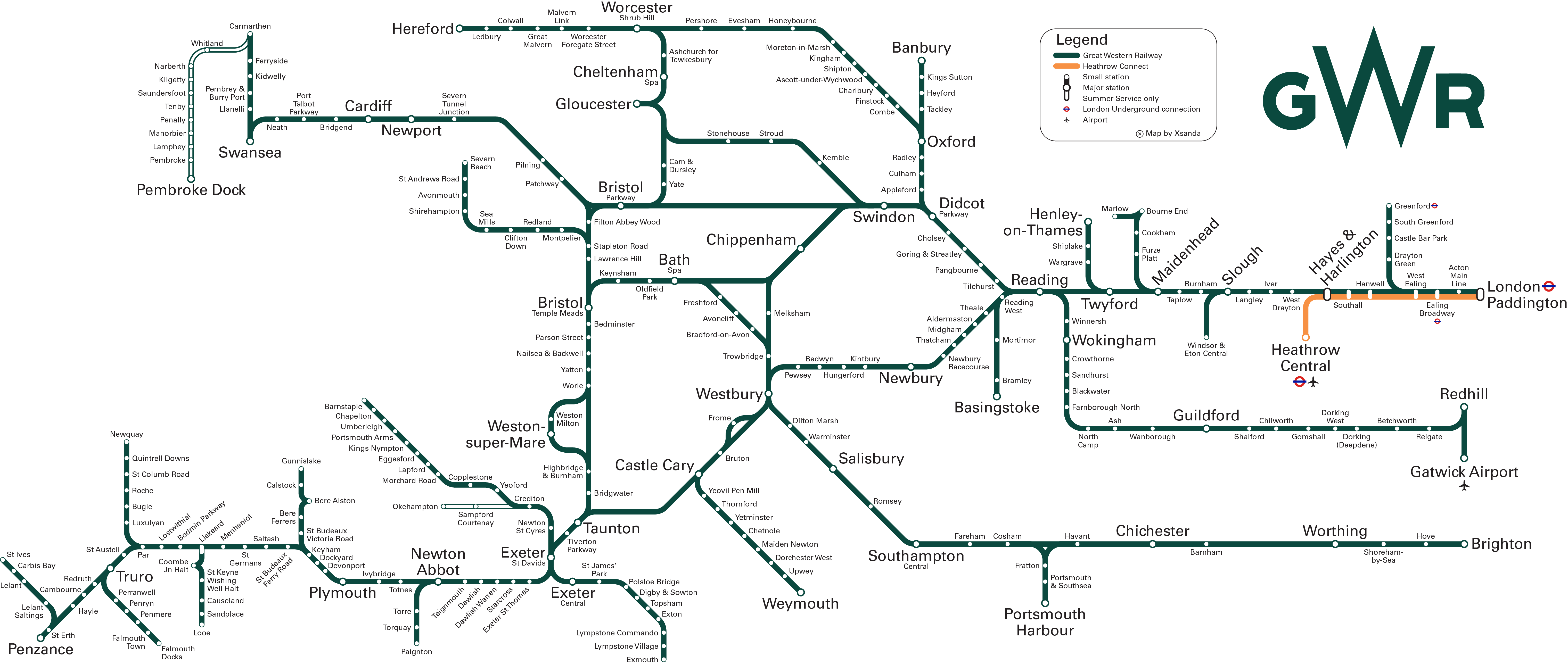 GWR route map Wales and England by Xsanda map uk wales england