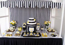 black, white and yellow buffet table
