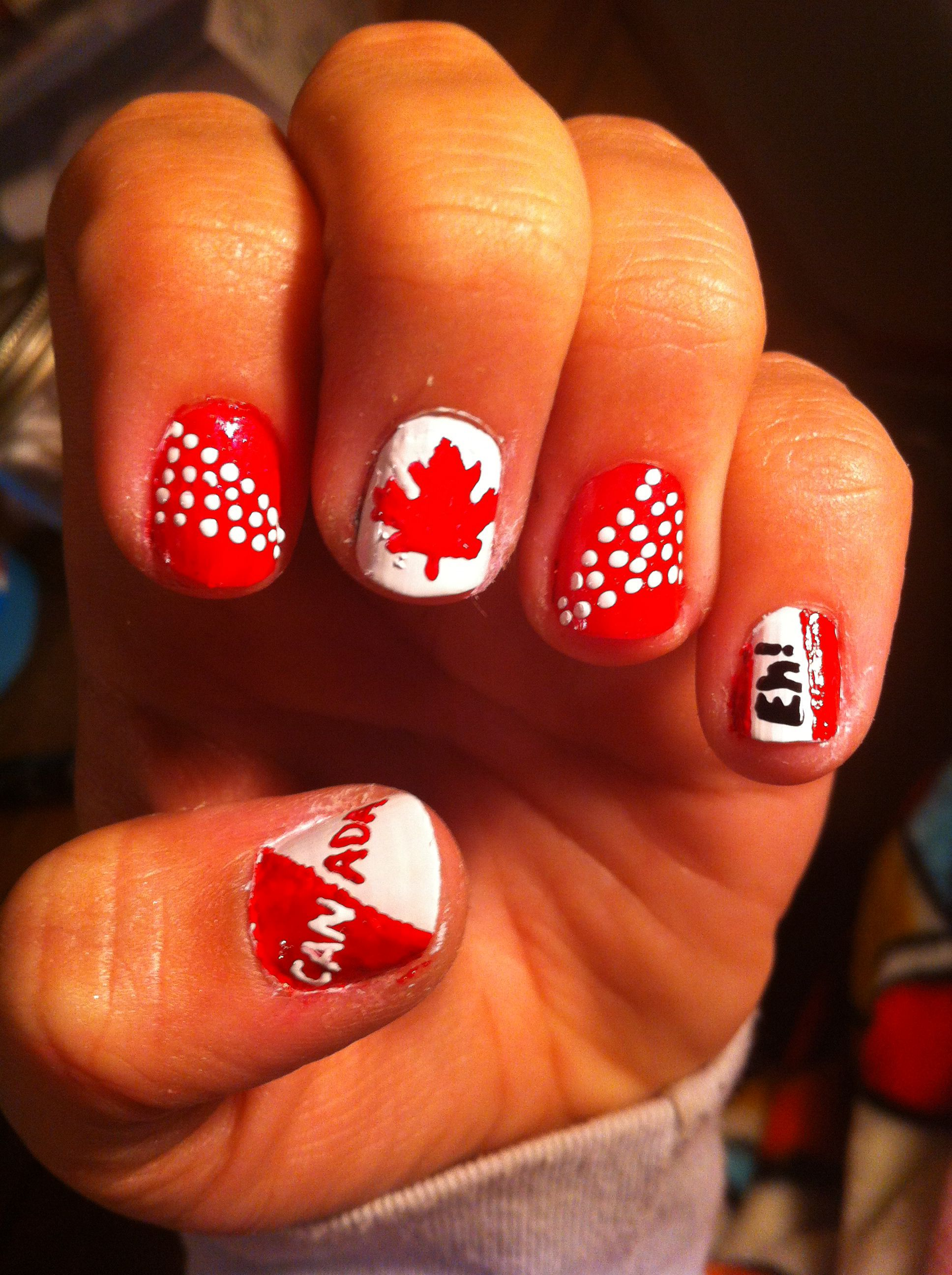 Canada day Nail art done by michelle Kim. All hand drawn. No fake ...