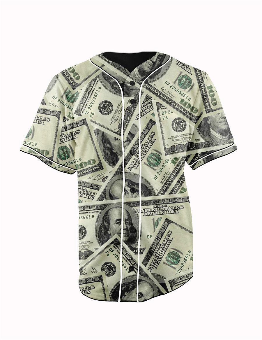 555b142d6d6 One Hundred Dollar Bill Collage Button Up Baseball Jersey
