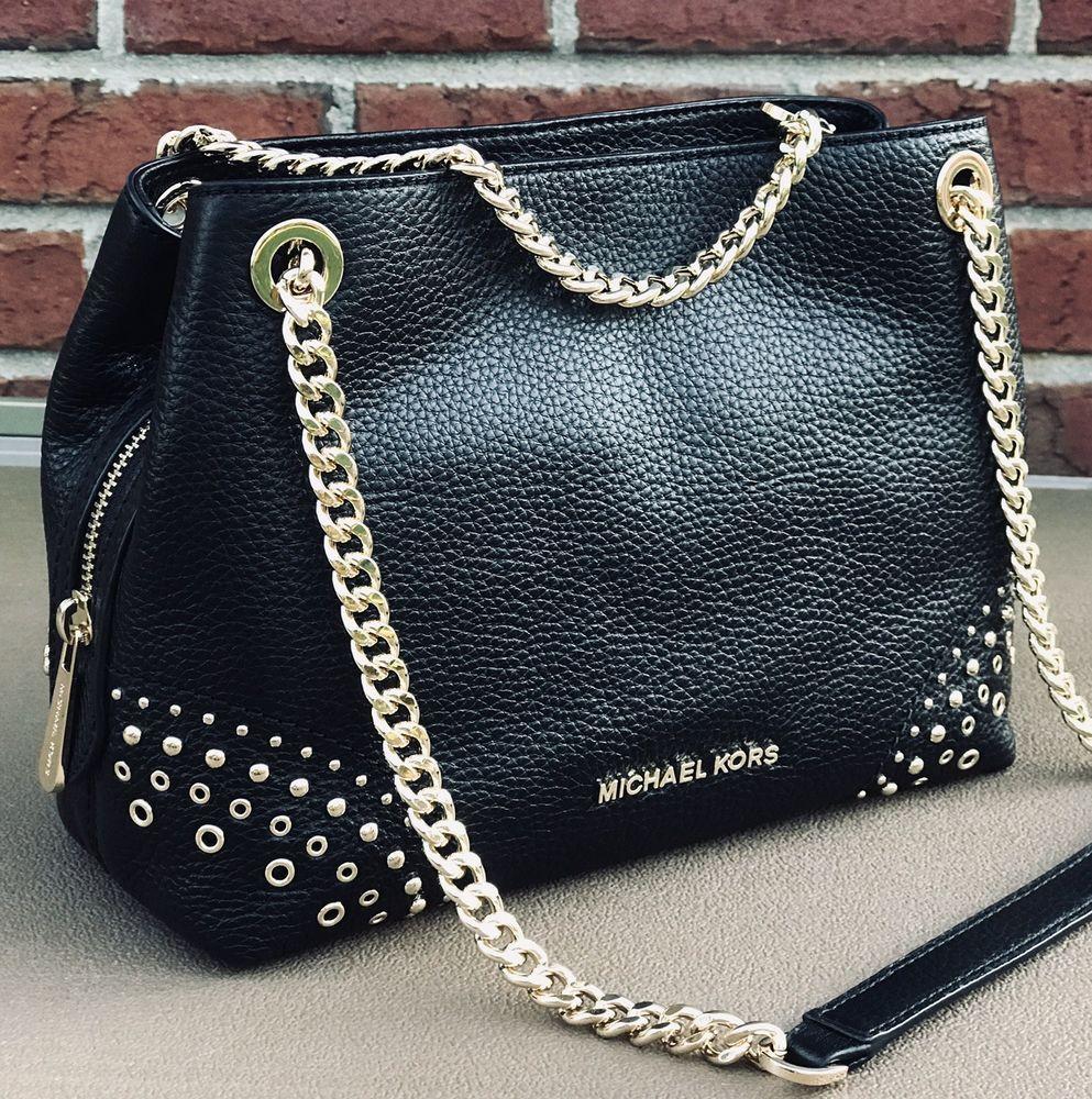 d16cccfde67 Michael Kors Jet Set Black Leather Gold Studed MD Chain Messenger Bag Purse   MichaelKors  messenger affiliate