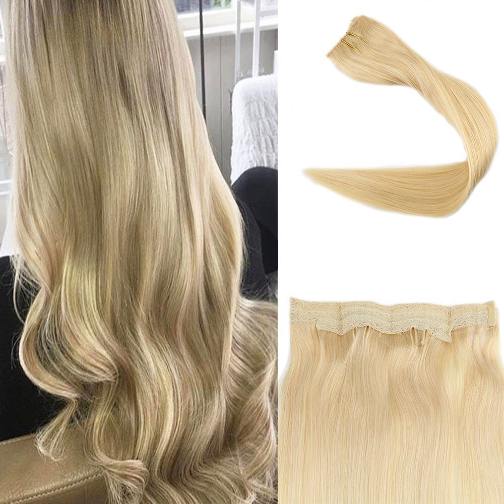 Double Weft Flip Hair Mircale Wire Hair Extension Halo Hairpieces