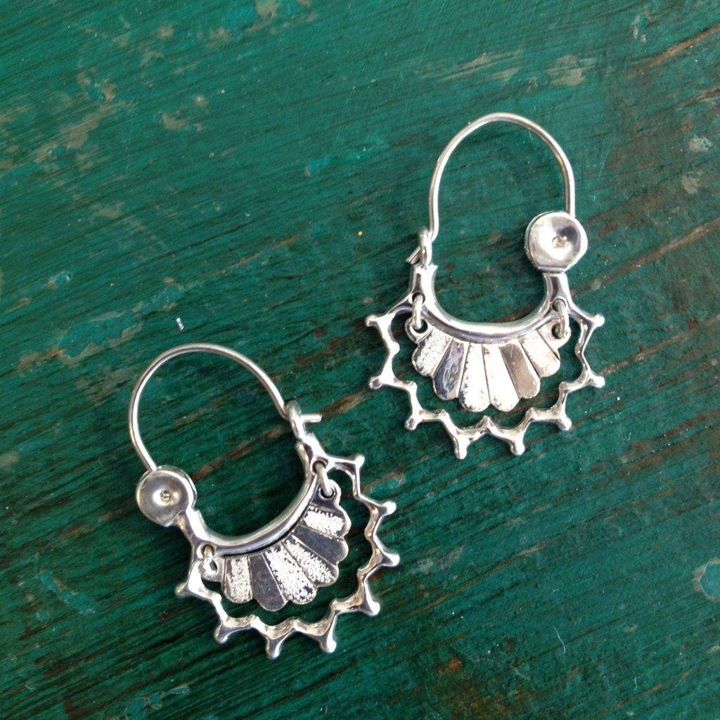 8c0728098 Small Sterling Silver Swinging Arracadas - Zinnia Folk Arts | Back ...