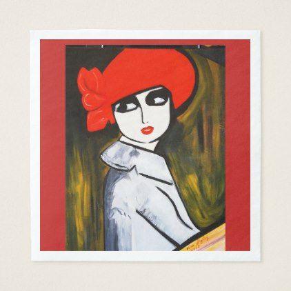 RED POPPY GIRL PAPER NAPKIN