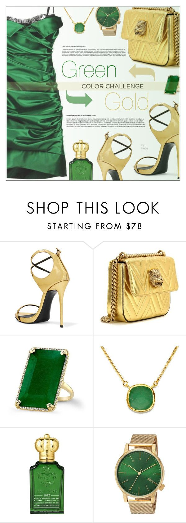"""""""Green And Gold"""" by petrapoly ❤ liked on Polyvore featuring Giuseppe Zanotti, Gucci, Anne Sisteron, BillyTheTree, Clive Christian, Komono, polyvorecommunity, colorchallenge and PolyvoreMostStylish"""