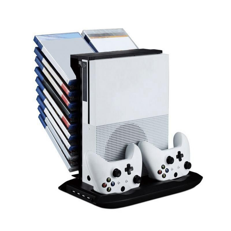 All In 1 Vertical Stand Holder Game Storage And Cooling System