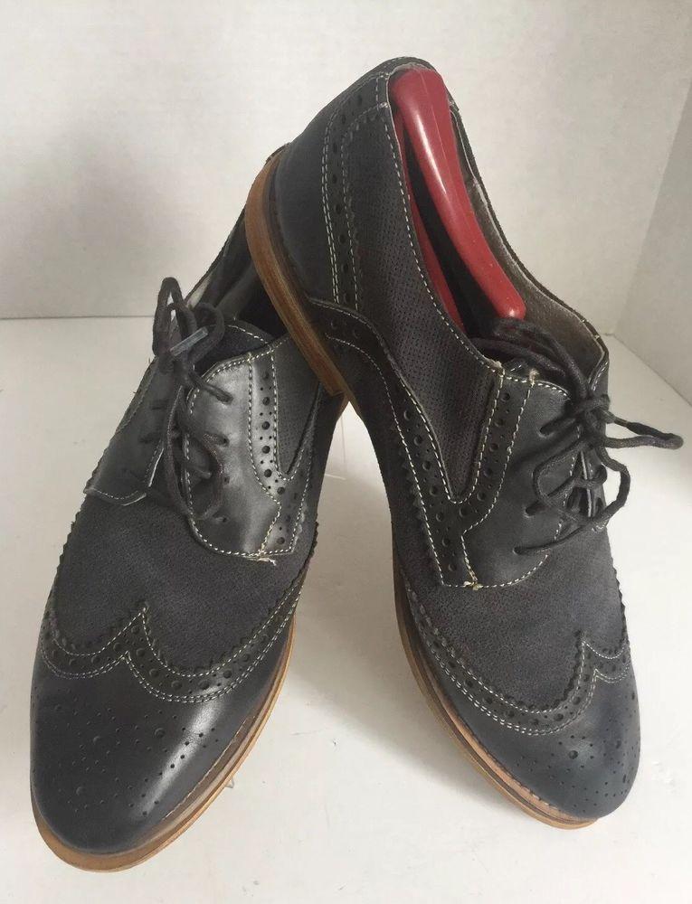 c02f6817 Mens Vince Camuto Bruno 201 Gray Cap Toe Leather Oxfords Sz 10.5 D   eBay