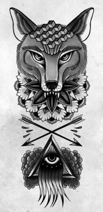 Tattoo design : Fox