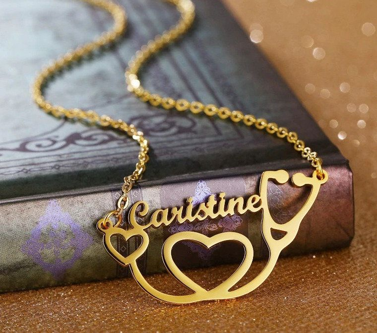 Custom Name Stethoscope Necklace Medical Student Gift Doctor Etsy Medical Student Gift Name Necklace Medical Jewelry