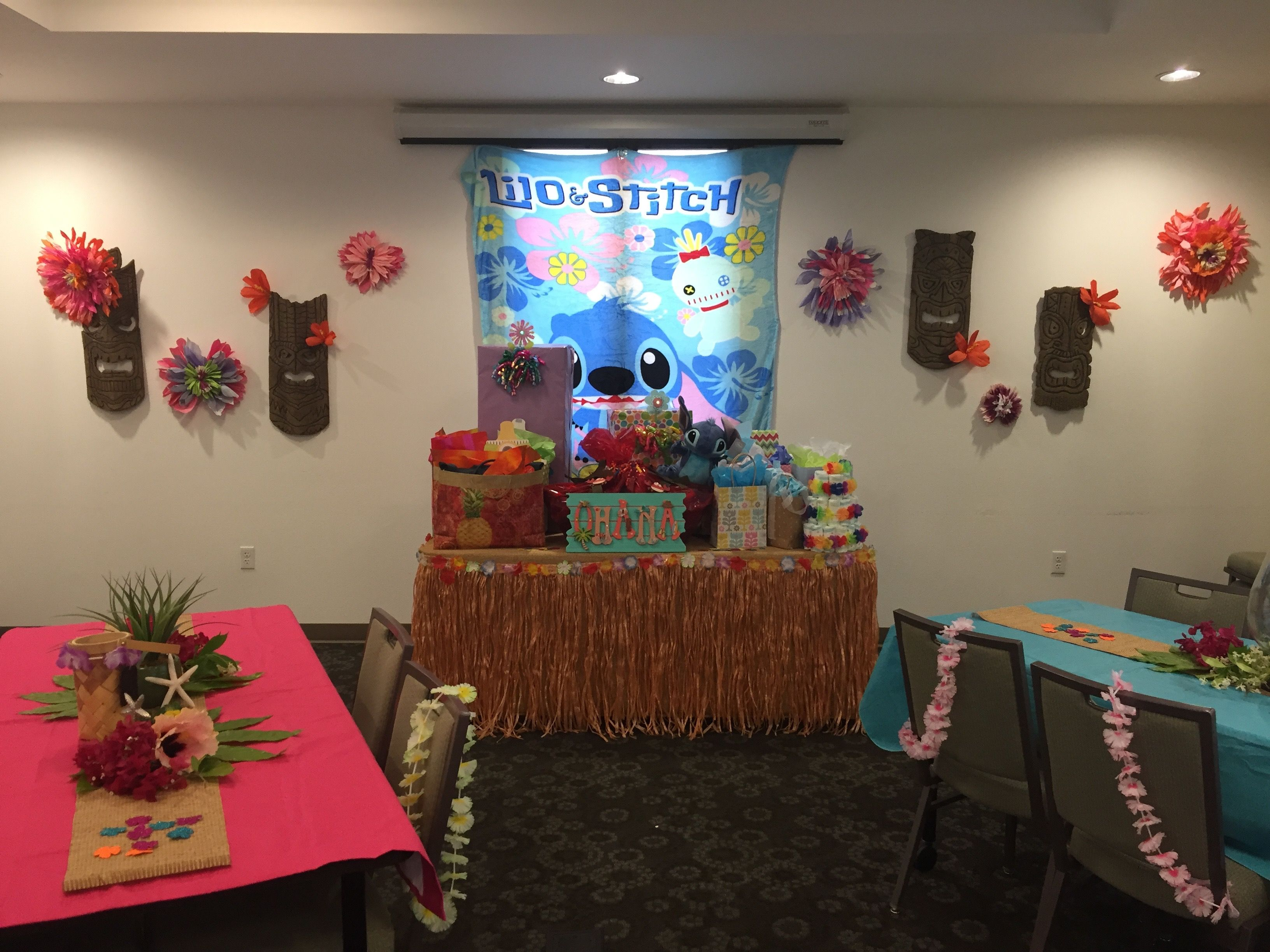 Lilo and stich luau baby shower gift table diy tiki gods