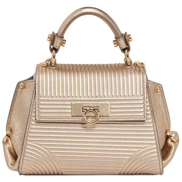 SALVATORE FERRAGAMO Mini Sofia Metallic Leather Bag (20,010 MXN) ❤ liked on Polyvore