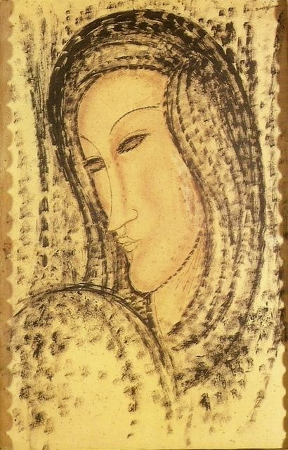 1900-20, Amedeo Modigliani: Portrait of a young widow. Watercolor and china ink 55 × 35 cm. Museu da Chácara do Céu, Rio de Janeiro, Brazil.