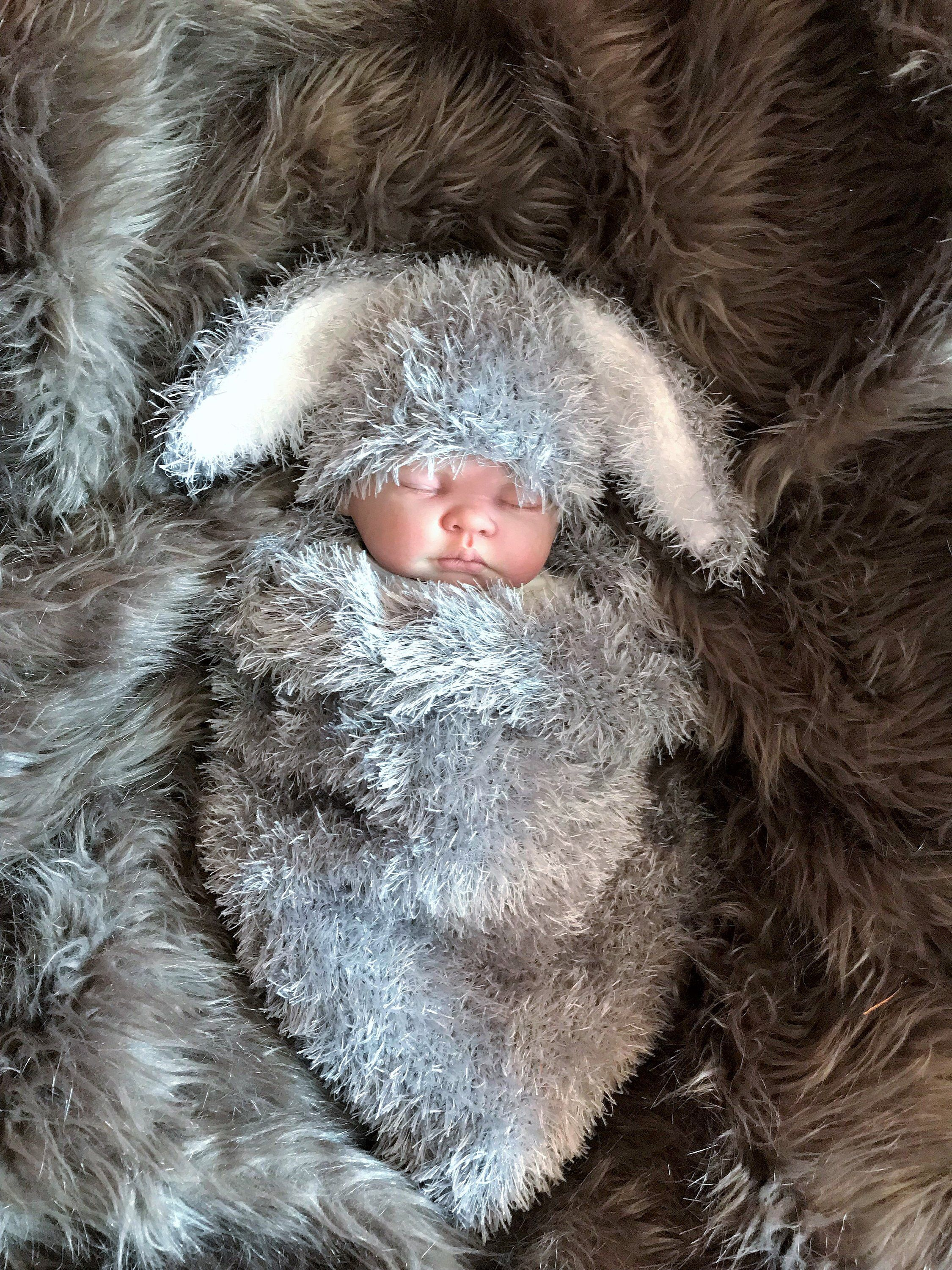 Photo of Chunky Hand Knitted Baby Cocoon Sleeping Bag Papoose Hat Grey Rabbit Bunny Photo Photography Prop Newborn -6 Months  Unisex / Boy / Girl UK