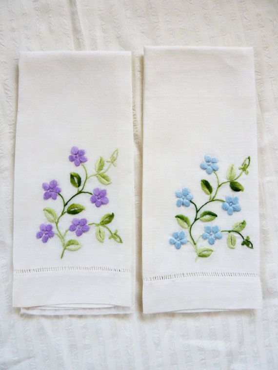 Linen Hand Towels Blue Purple Embroidered Flowers on White | dibujos ...