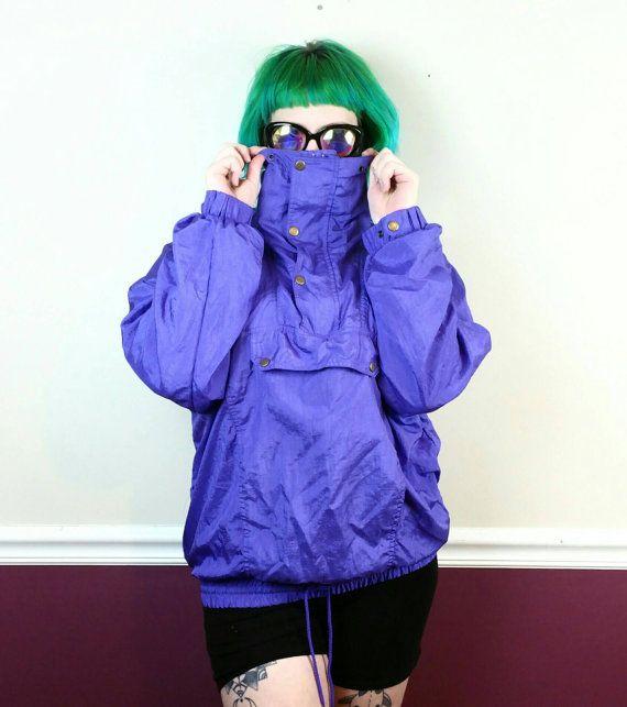 90s purple windbreaker Pierre Cardin • Vintage pullover nylon jacket • 90s pullover windbreaker •80s turtleneck track jacket • Large