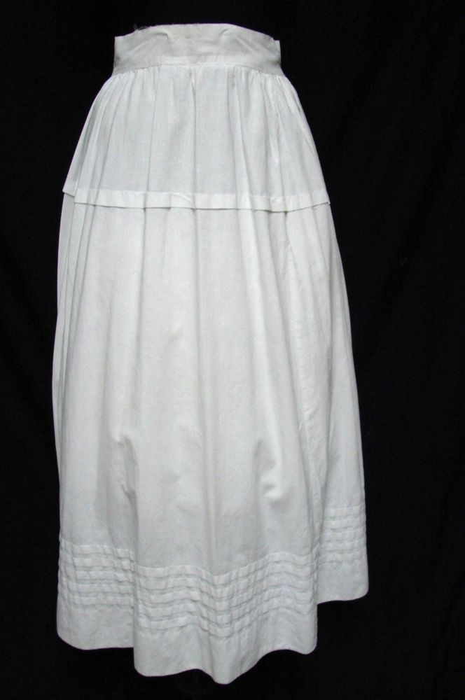 ANTIQUE VICTORIAN LONG WHITE COTTON PETTICOAT SLIP SKIRT ...