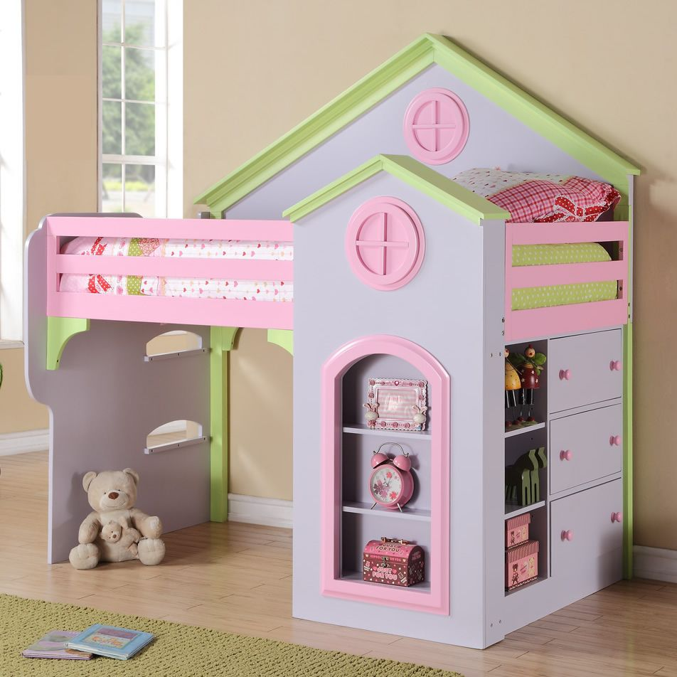 Princess Bedrooms For Girls Cute Girls Loft Bed With Slide Box 3 From A Desk And Vanity