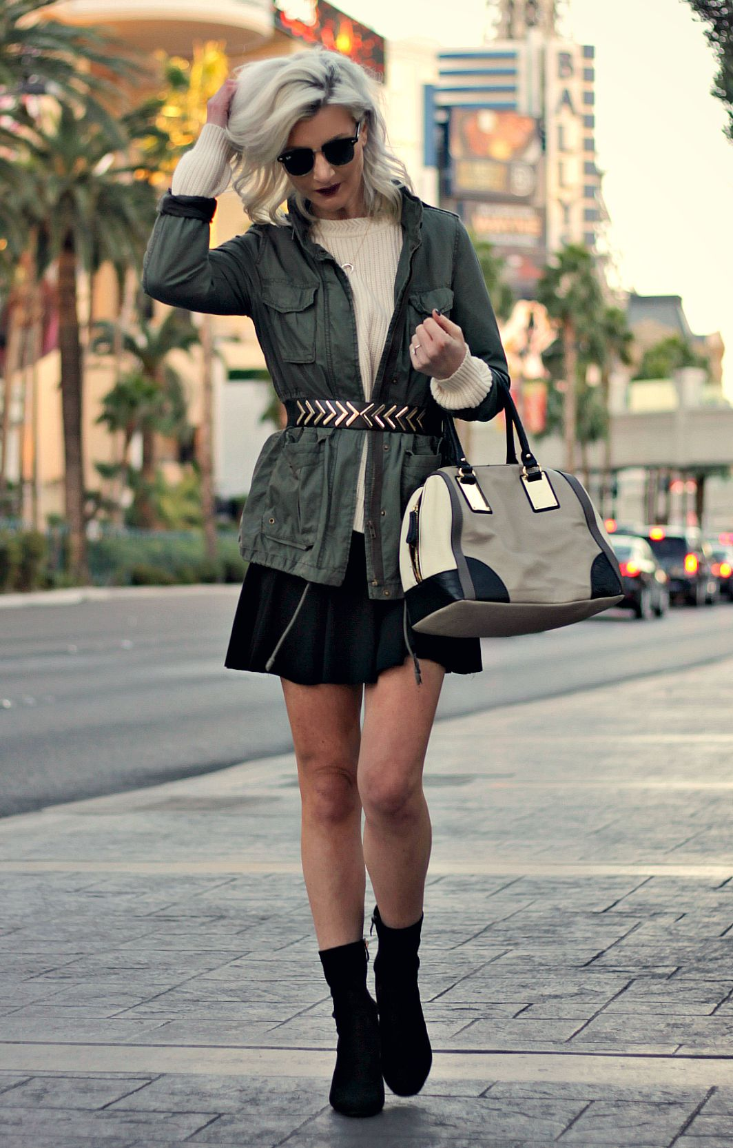 Outfit Inspo: Belted Coat, Skater Skirt, Slouchy Sweater