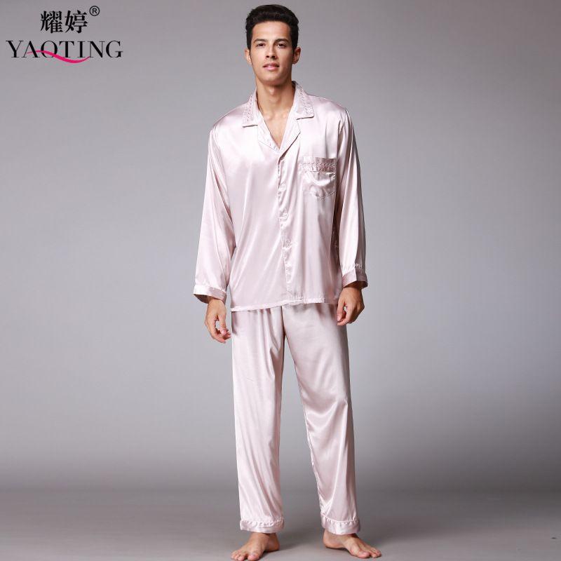 2 Pcs New Mens Silk Satin Pajamas Pajama Pyjamas Set Comfortable ...