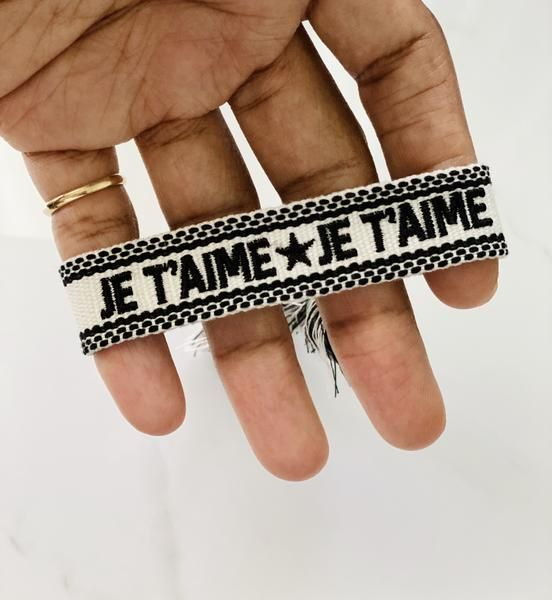 Beautiful adjustable woven bracelet with french words. #Blackowned, #BIPOCowned, #jewelry, #bracelet