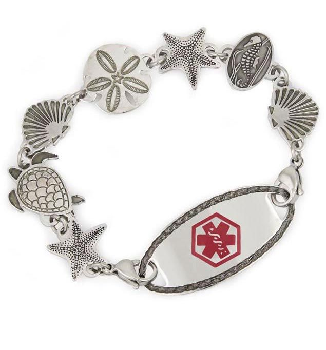 Sea Life Medical Alert Bracelet For Women With Oval Border Tag