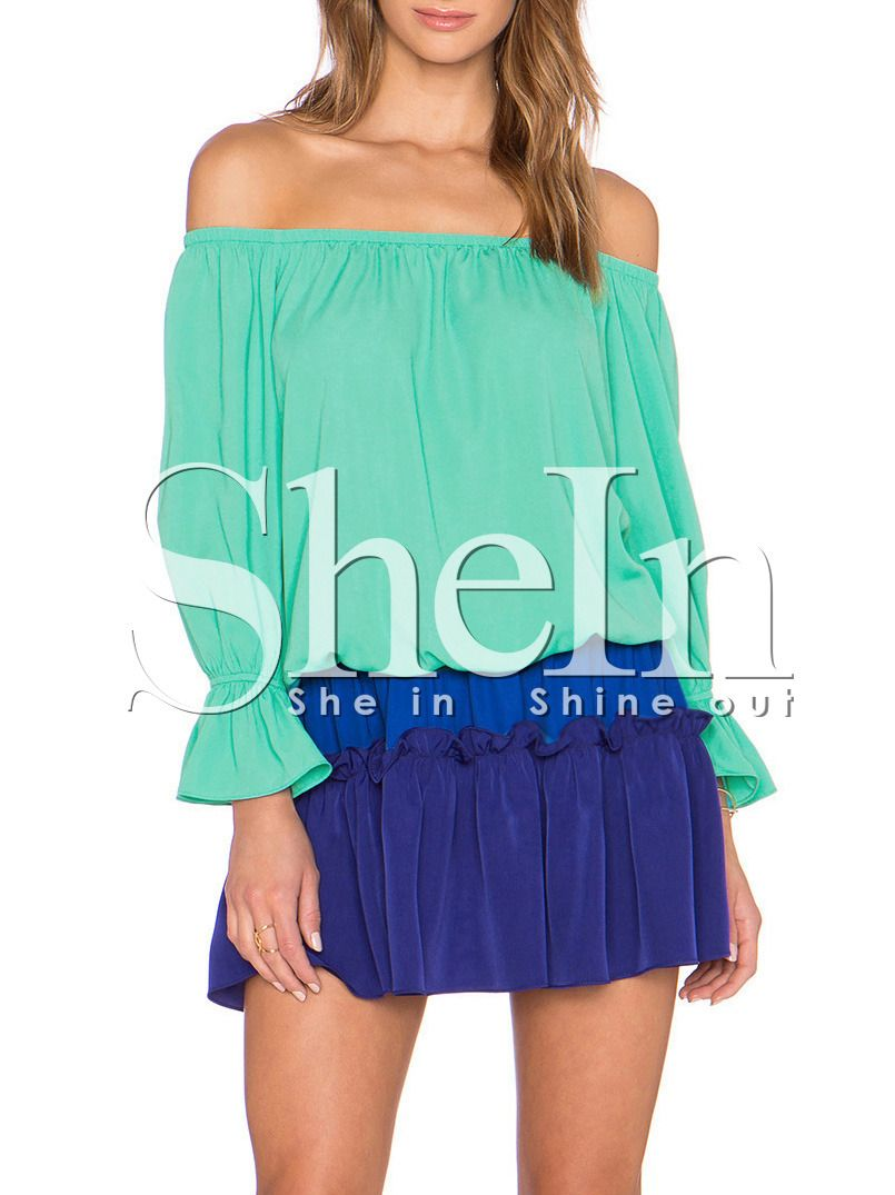Blue Off The Shoulder Ruffle Cuff Blouse 20.99