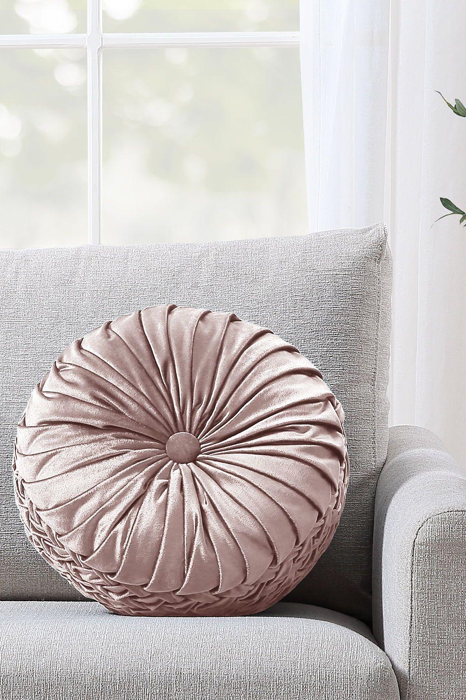 Better Homes Gardens Velvet Round Decorative Pillow 15 5 Blush