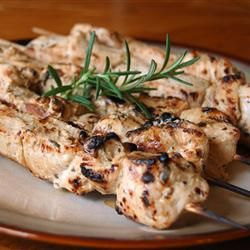 """Low carb. Rosemary Ranch Chicken Kabobs    By: Theresa Spencer   """"This rosemary ranch chicken recipe is so delicious, tender, and juicy the chicken will melt in your mouth. Even the most picky eater will be begging for the last piece."""""""