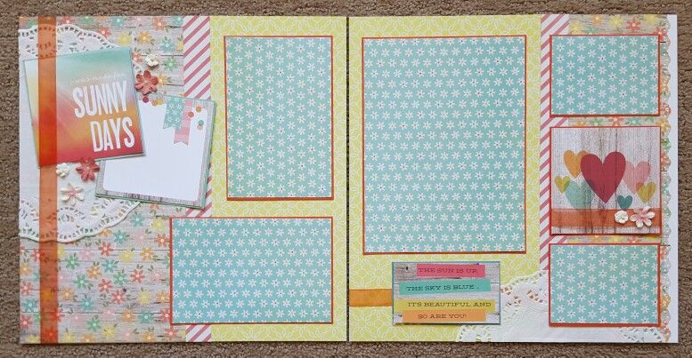 Simple Stories Summer Vibes and Prima Marketing flowers. Summer layout