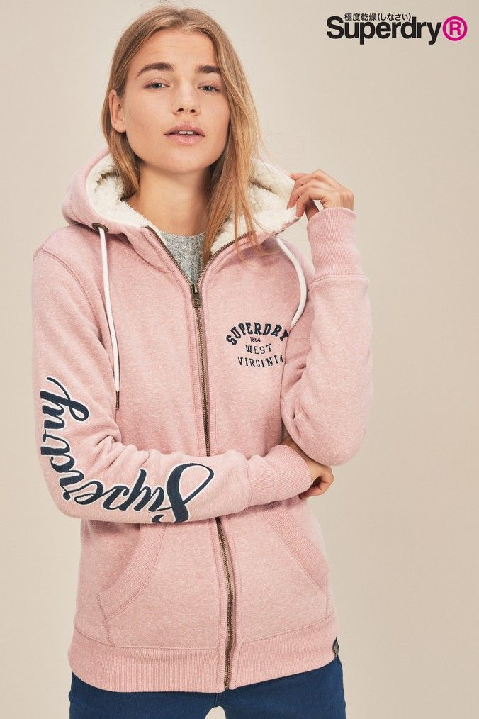 Zip Pink Aria Superdry Products Hoodies Hoody Applique Womens q8PZx18
