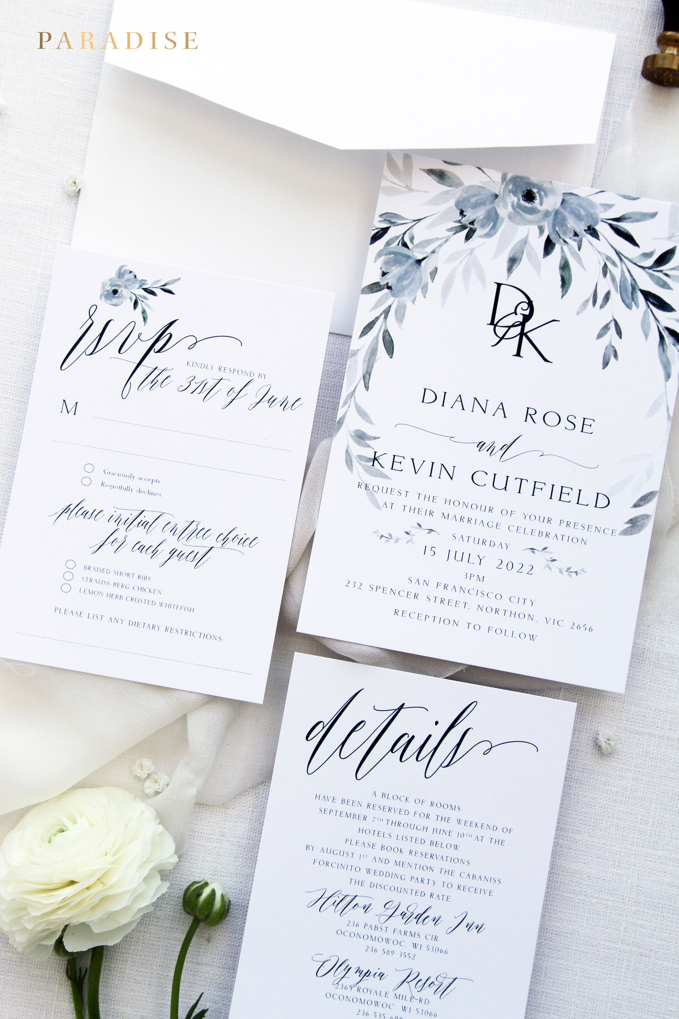 Skyla Dusty Blue Wedding Invitation Sets, Printable Invitations or ...