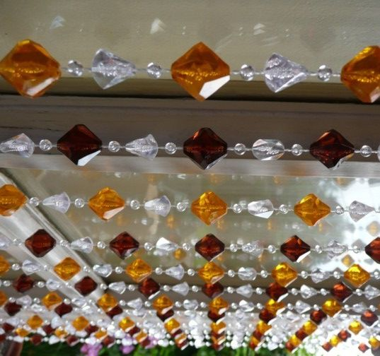 6' Amber and Brown Gemstone Beaded Curtain  $38.00