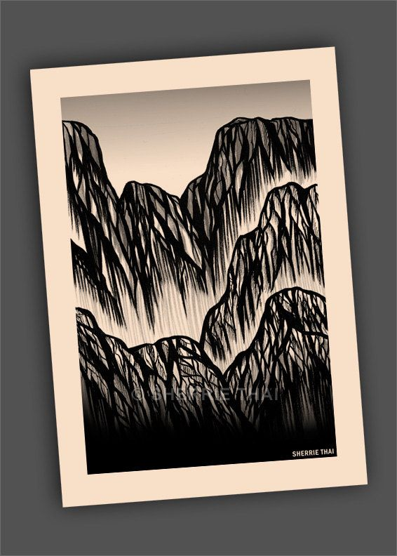Abstract Asian Mountains Nature Drawing By Sherrie Thai Of Shaireproductions Http Www Etsy Com Listing 178748591 A Nature Drawing Mountain Drawing Drawings