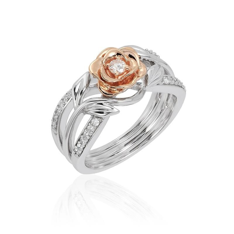 Disney Enchanted Belle Collection Wedding Ring White Gold Vine Designed With Two Framing Rows Of Bead Set Round Brilliant Cut Diamonds F