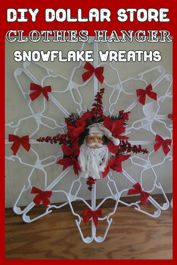 DIY Dollar Store Plastic Clothes Hanger Snowflake Wreaths - How To Make Them!