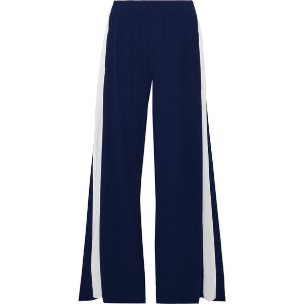 ef533e91c6ec8 Norma Kamali Striped stretch-jersey wide-leg pants (810 970 LBP) ❤ liked on  Polyvore featuring pants, bottoms, norma kamali, trousers, navy, navy pants,  ...