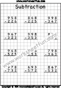 3 Digit Subtraction - No Regrouping - Three Worksheets