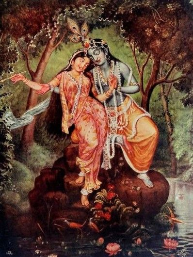 Radha and Krishna Colour Poster - Calcutta (Kolkata) c1930's