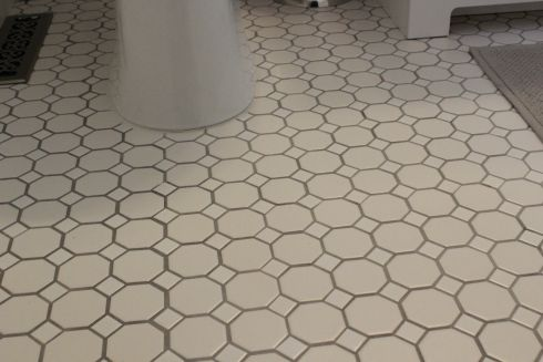 Guest Bath Makeover White Subway Tile Shower Subway Tile Showers Octagon Tile