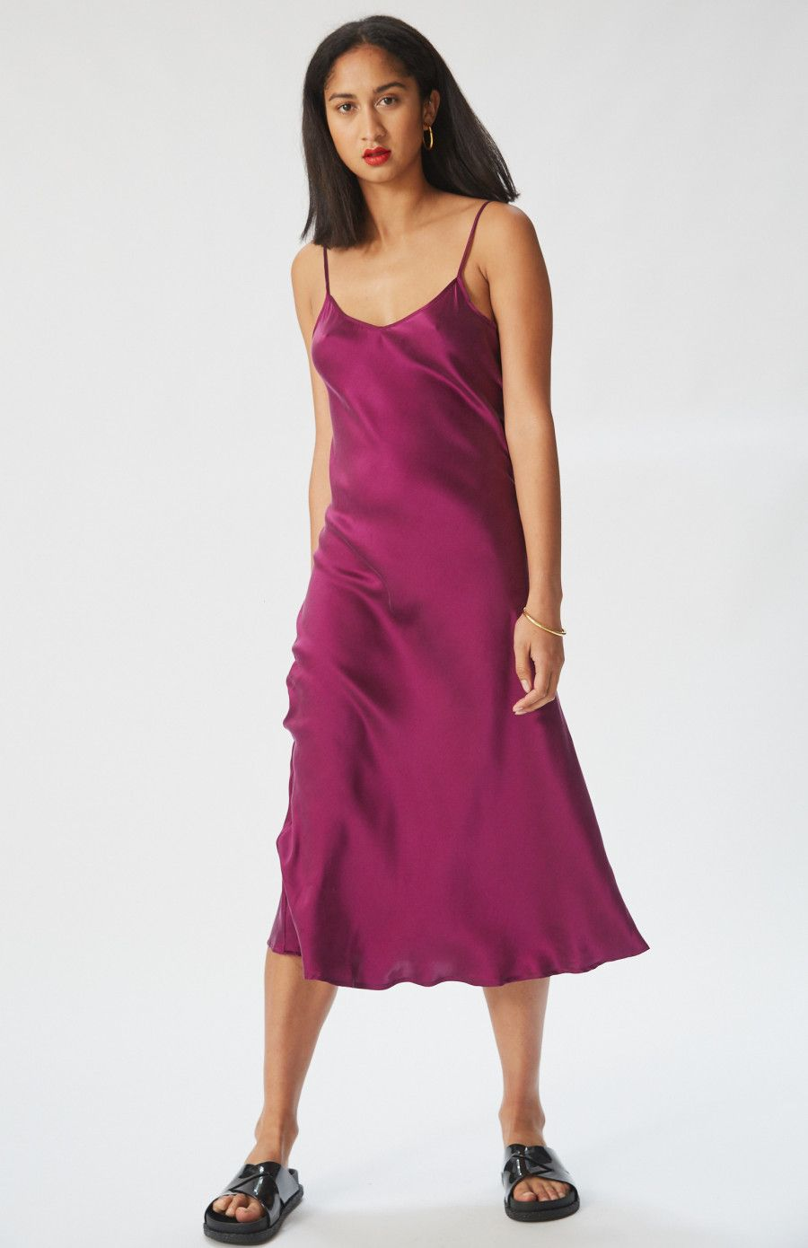 94b6c8698d0c '90s Silk Slip Dress in Purple by Silk Laundry, ethically-made in a  transparent supply chain, and the perfect special event dress and spring  dress.