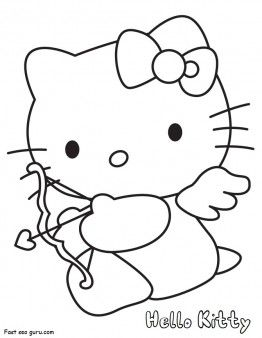 Hello Kitty Coloring Pages Valentines Day Cupid Fargelegge Tegninger Activities Worksheets Clipart Color Games Online How To Dra