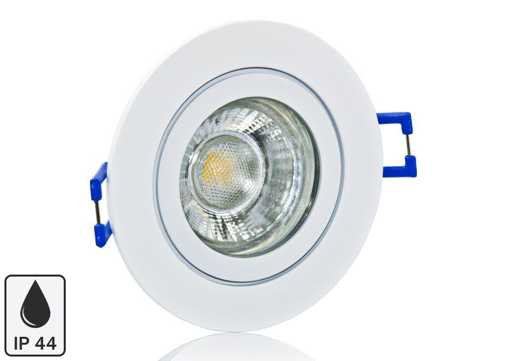 Feuchtraum Led Einbaustrahler Set Ip44 Weiss Rund Mit Marken Gu10 Led Spot Lc Light 5 Watt 9 Smd Led Einbaustrahler Led Spots Led