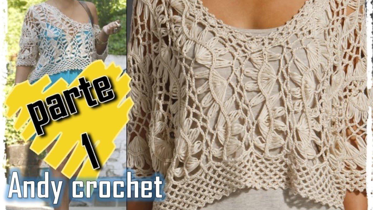 BLUSA EN HORQUILLA Y CROCHET FÁCIL DE TEJER | Patrones Crochet ...