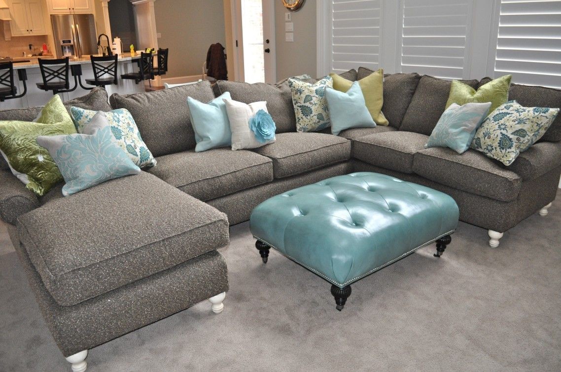 U Shaped Gray Velvet Chaise Sofa Mixed Tufted Blue Faux ...